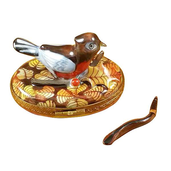Robin With Removable Worm Limoges Box by Rochard-Limoges Box-Rochard-Top Notch Gift Shop