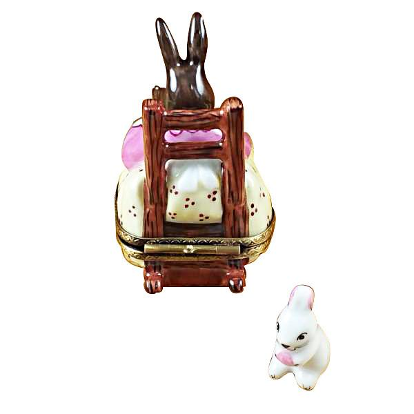 Mother Rabbit Rocking W/Baby Limoges Box by Rochard-Limoges Box-Rochard-Top Notch Gift Shop
