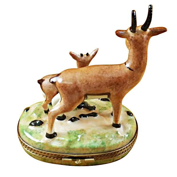 African Antelope With Baby Limoges Box by Rochard™-Limoges Box-Rochard-Top Notch Gift Shop