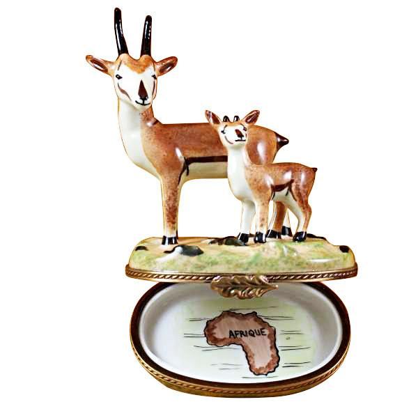African Antelope With Baby Limoges Box by Rochard-Limoges Box-Rochard-Top Notch Gift Shop