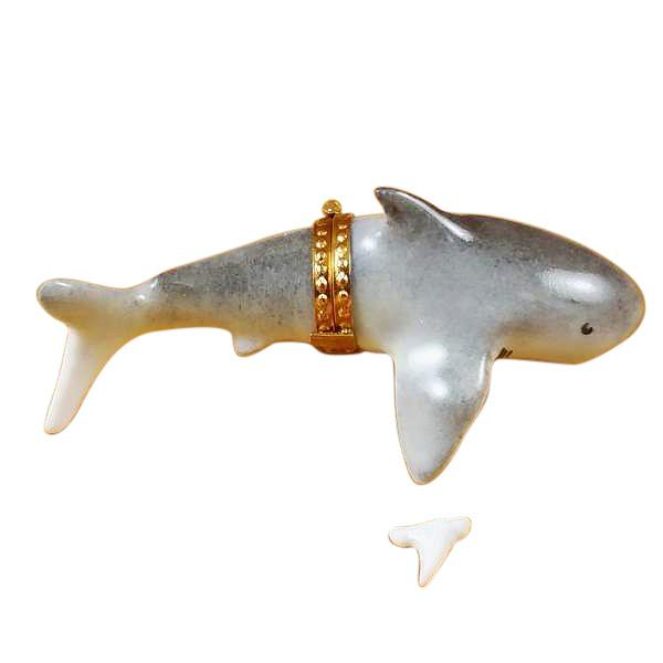Shark W/ Removable Tooth Limoges Box by Rochard-Limoges Box-Rochard-Top Notch Gift Shop