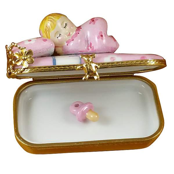Baby In Pink Bed With Pacifier Limoges Box by Rochard-Limoges Box-Rochard-Top Notch Gift Shop