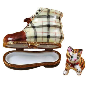 Cat In Burberry Boot Limoges Box by Rochard™-Limoges Box-Rochard-Top Notch Gift Shop