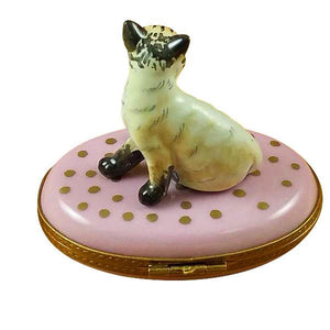 Cat On Pink Base Limoges Box by Rochard™-Limoges Box-Rochard-Top Notch Gift Shop
