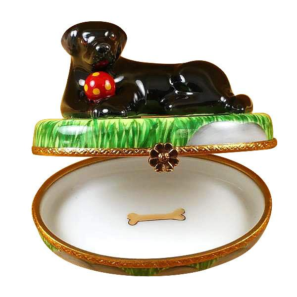 Black Lab With Ball Limoges Box by Rochard™-Limoges Box-Rochard-Top Notch Gift Shop