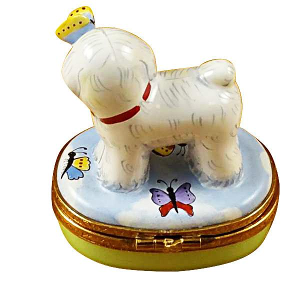 Bichon Frise With Butterfly Limoges Box by Rochard™-Limoges Box-Rochard-Top Notch Gift Shop