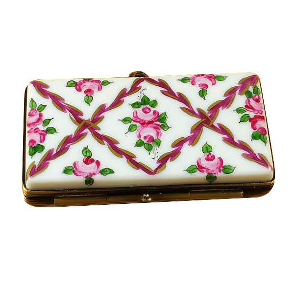 Flat Rectangle - Burgundy Stripes And Flowers Limoges Box by Rochard-Limoges Box-Rochard-Top Notch Gift Shop