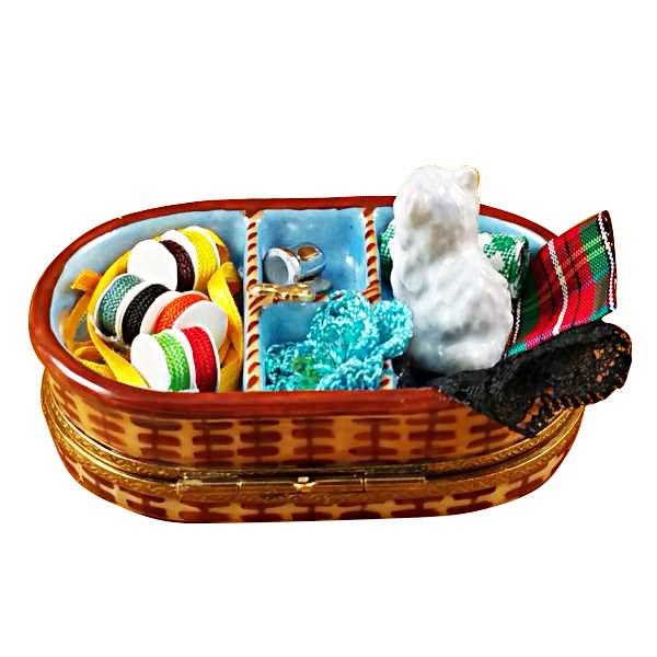Sewing Basket With Cat Limoges Box by Rochard-Limoges Box-Rochard-Top Notch Gift Shop