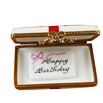 Gift Box With Red Bow - Happy Birthday Limoges Box by Rochard™