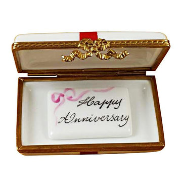 Gift Box With Red Bow - Happy Anniversary Limoges Box by Rochard™