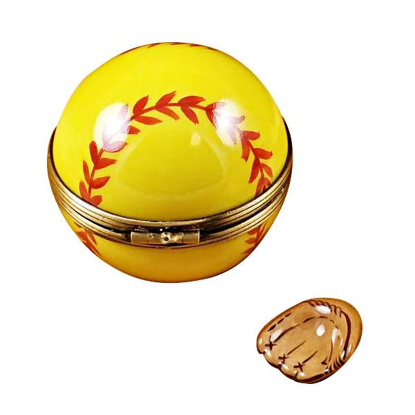 Softball With Removable Glove Limoges Box by Rochard-Limoges Box-Rochard-Top Notch Gift Shop