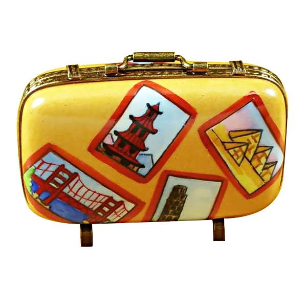 Suitcase With Large Tags Limoges Box by Rochard-Limoges Box-Rochard-Top Notch Gift Shop