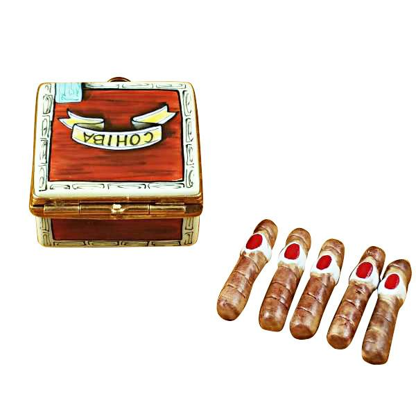 Cigar Box With Removable Cigars Limoges Box by Rochard™-Limoges Box-Rochard-Top Notch Gift Shop