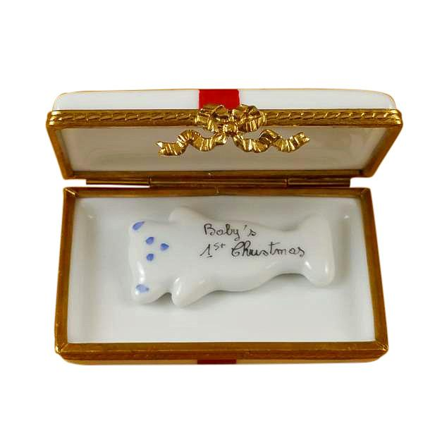 Baby's 1st Christmas Gift Box (Blue) Limoges Box by Rochard™-Limoges Box-Rochard-Top Notch Gift Shop