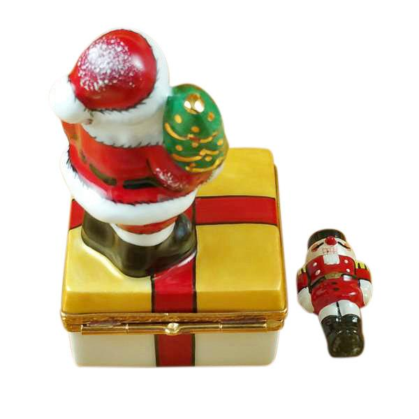 Santa On Present With Removable Nutcracker Limoges Box by Rochard-Limoges Box-Rochard-Top Notch Gift Shop
