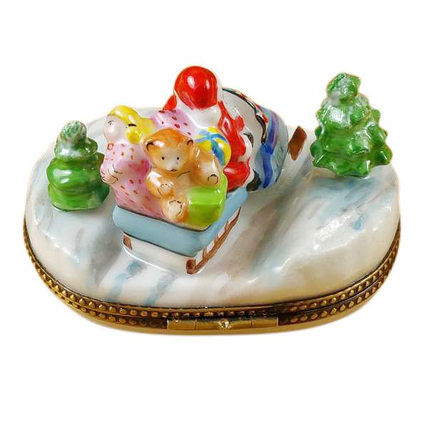 Santa On Snowmobile Limoges Box by Rochard™-Limoges Box-Rochard-Top Notch Gift Shop