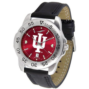Indiana Hoosiers Mens AnoChrome Leather Band Sports Watch