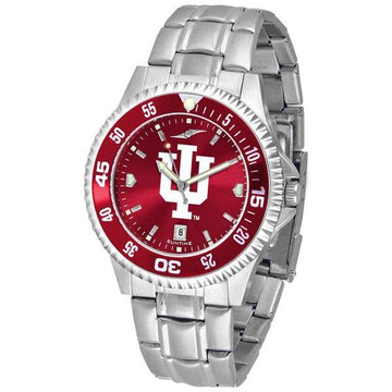 Indiana Hoosiers Mens Competitor AnoChrome Steel Band Watch w/ Colored Bezel