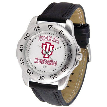 Indiana Hoosiers Mens Leather Band Sports Watch