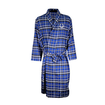 Indianapolis Colts Mens Blue/Black Plaid Flannel Bathrobe