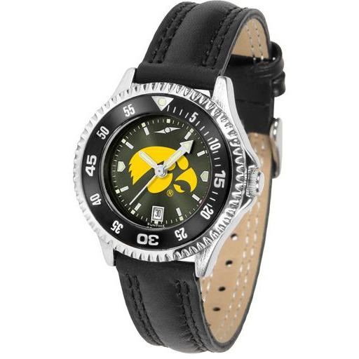 Iowa Hawkeyes Ladies Competitor Ano Poly/Leather Band Watch w/ Colored Bezel-Watch-Suntime-Top Notch Gift Shop