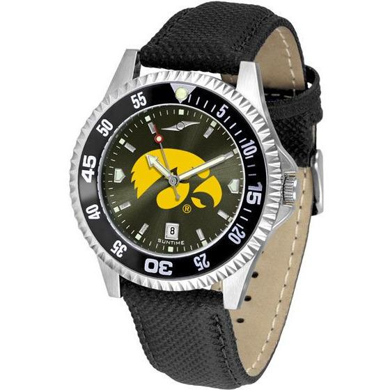 Iowa Hawkeyes Mens Competitor Ano Poly/Leather Band Watch w/ Colored Bezel-Watch-Suntime-Top Notch Gift Shop