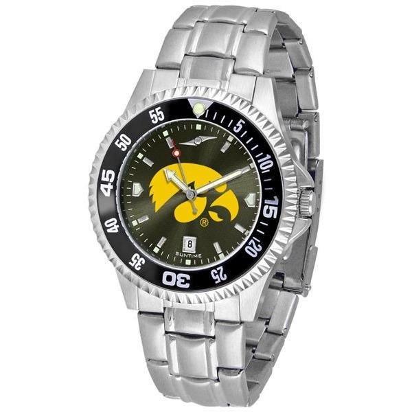 Iowa Hawkeyes Mens Competitor AnoChrome Steel Band Watch w/ Colored Bezel-Watch-Suntime-Top Notch Gift Shop