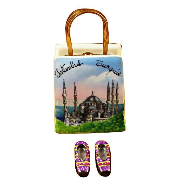 Istanbul Turkey Shopping Bag With Removable Turkish Slippers Limoges Box by Rochard™-Rochard-Top Notch Gift Shop