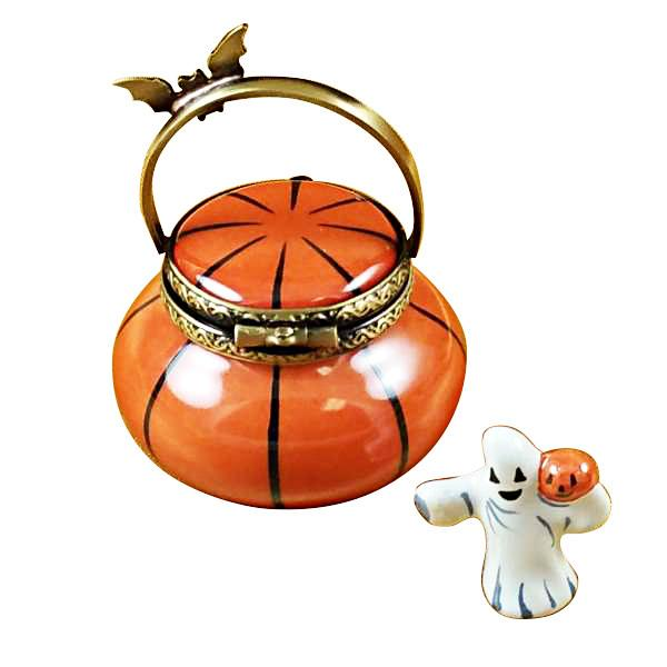 Jack O Lantern Pail with Removable Ghost Limoges Box by Rochard-Limoges Box-Rochard-Top Notch Gift Shop