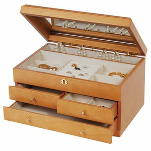 Jene - Florentine Maple Finish Jewelry Box-Mele & Co.-Top Notch Gift Shop