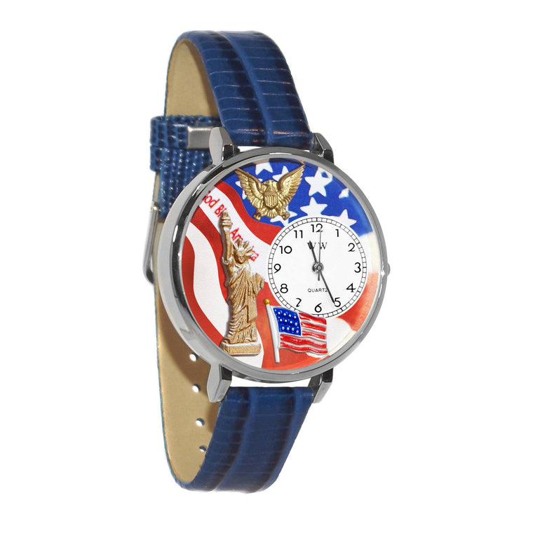 July 4th Patriotic Watch in Silver (Large)-Whimsical GiftsTop Notch Gift Shop