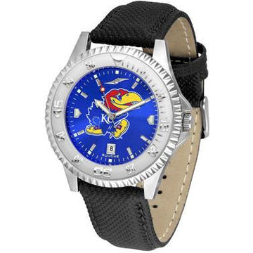Kansas Jayhawks Competitor AnoChrome - Poly/Leather Band Watch