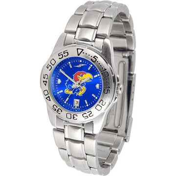 Kansas Jayhawks Ladies AnoChrome Steel Band Sports Watch