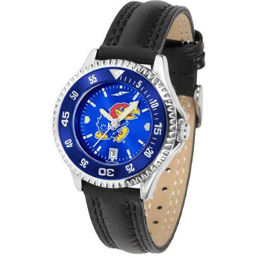Kansas Jayhawks Ladies Competitor Ano Poly/Leather Band Watch w/ Colored Bezel-Watch-Suntime-Top Notch Gift Shop