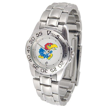 Kansas Jayhawks Ladies Steel Band Sports Watch