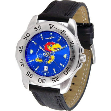 Kansas Jayhawks Mens AnoChrome Leather Band Sports Watch