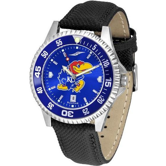 Kansas Jayhawks Mens Competitor Ano Poly/Leather Band Watch w/ Colored Bezel-Watch-Suntime-Top Notch Gift Shop