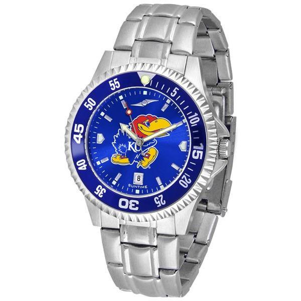 Kansas Jayhawks Mens Competitor AnoChrome Steel Band Watch w/ Colored Bezel-Watch-Suntime-Top Notch Gift Shop