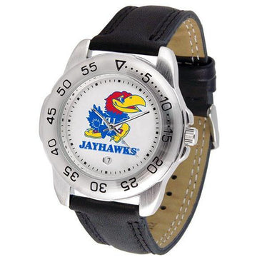 Kansas Jayhawks Mens Leather Band Sports Watch