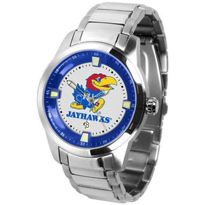 Kansas Jayhawks Men's Titan Stainless Steel Band Watch-Watch-Suntime-Top Notch Gift Shop