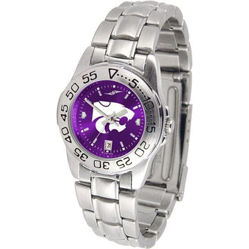 Kansas State Wildcats Ladies AnoChrome  Steel Band Sports Watch