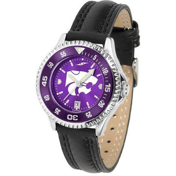 Kansas State Wildcats Ladies Competitor Ano Poly/Leather Band Watch w/ Colored Bezel