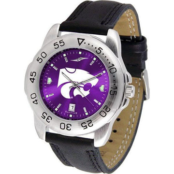 Kansas State Wildcats Mens AnoChrome Leather Band Sports Watch