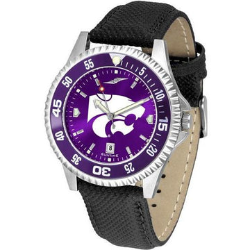 Kansas State Wildcats Mens Competitor Ano Poly/Leather Band Watch w/ Colored Bezel