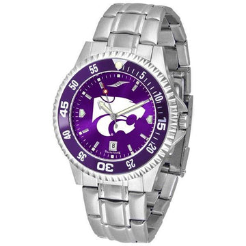 Kansas State Wildcats Mens Competitor AnoChrome Steel Band Watch w/ Colored Bezel