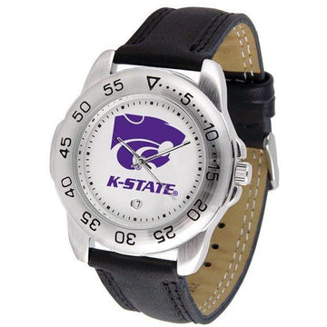 Kansas State Wildcats Mens Leather Band Sports Watch