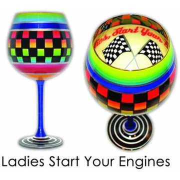 Ladies Start Your Engines Hand Painted  Wine Glass