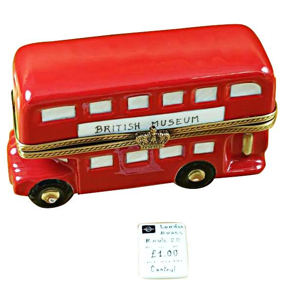 London Double Decker Bus With Removable Ticket Limoges Box by Rochard™-Limoges Box-Rochard-Top Notch Gift Shop
