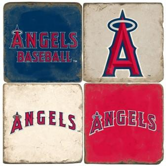 Los Angeles Angels Italian Marble Coasters with Wrought Iron Holder (set of 4)