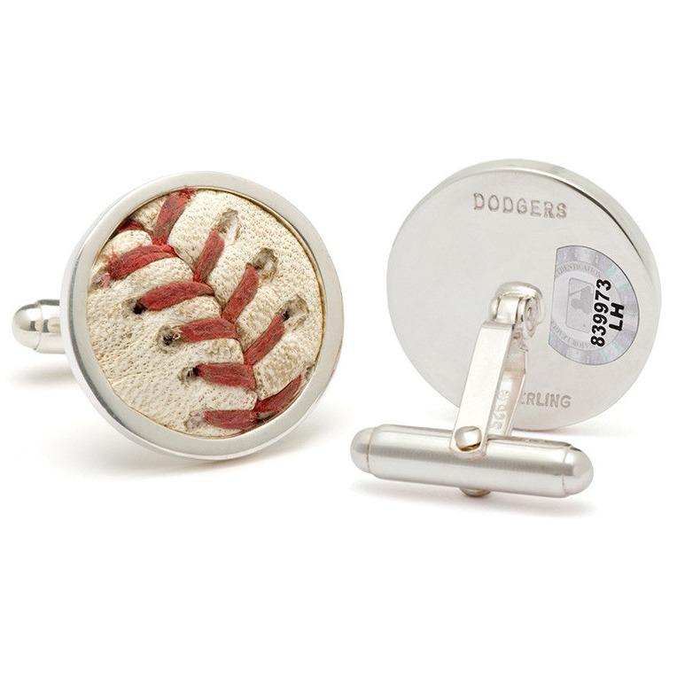 Los Angeles Dodgers Authenticated Game Used Baseball Stitches Cuff Links-Cufflinks-Tokens & Icons-Top Notch Gift Shop